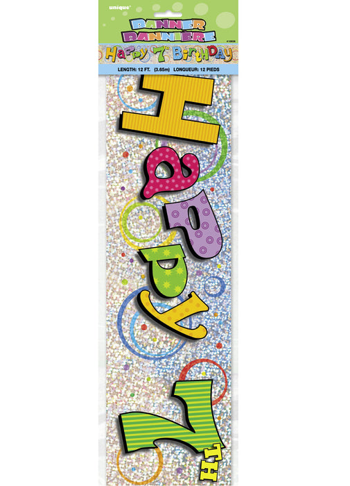 Happy 7th Birthday Foil Banner