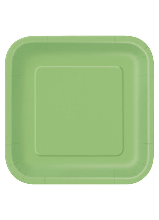 Lime Green Square Plates 14pk