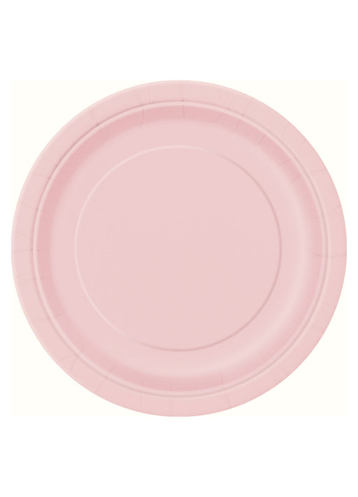 Pastel Pink Party Round Paper Plates 16pk