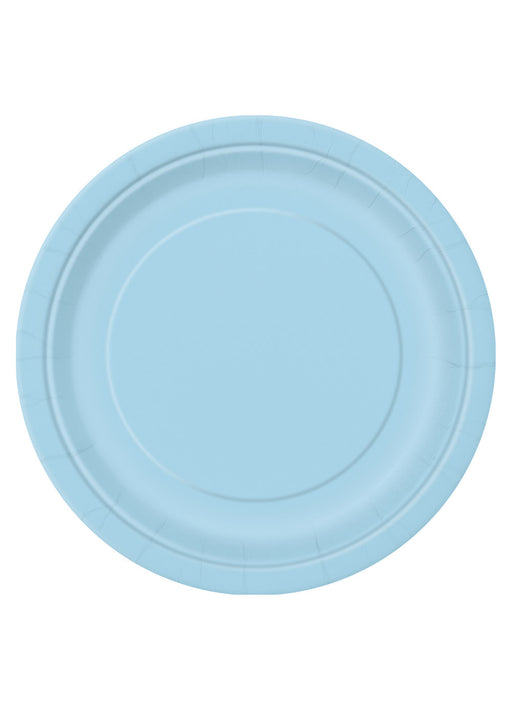 Powder Blue Party Round Paper Plates 16pk