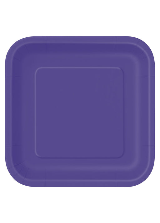 Purple Party Square Paper Plates 14pk