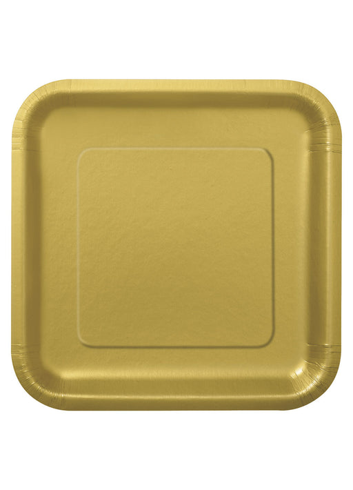 Gold Party Square Paper Plates 14pk