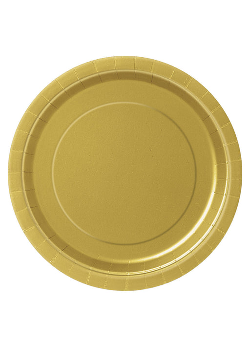 Gold Party Round Paper Plates 16pk