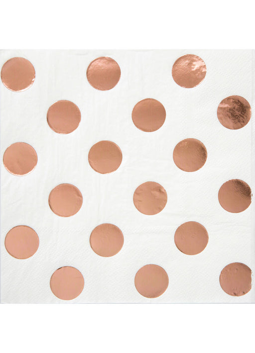 Rose Gold Dot Beverage Napkins 16pk