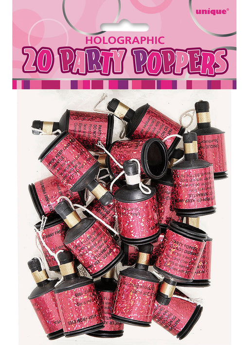 Pink Glitz Party Poppers 20pk