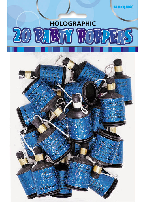 Blue Glitz Party Poppers 20pk