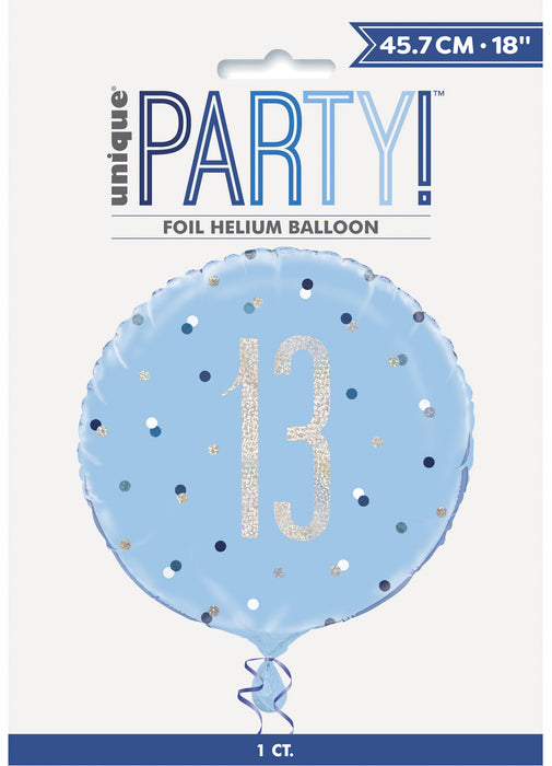 Blue Glitz Age 13 Foil Balloon