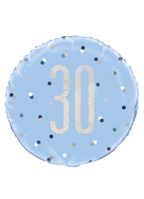 Blue Glitz Age 30 Foil Balloon