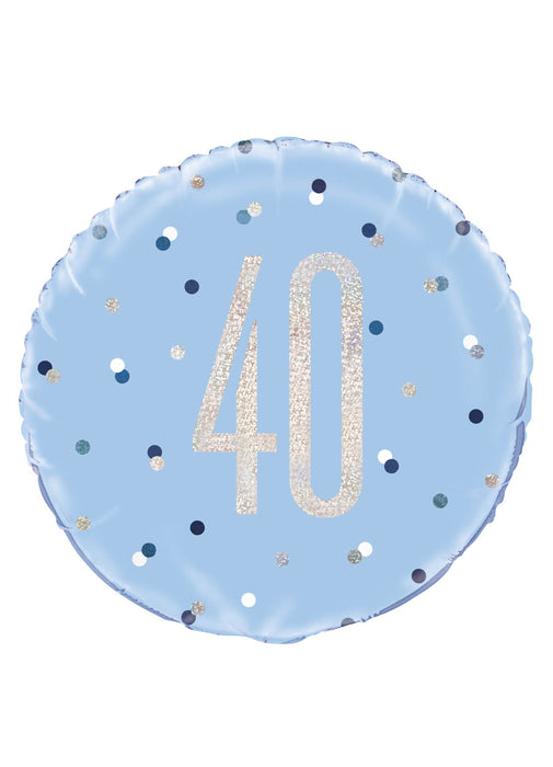 Blue Glitz Age 40 Foil Balloon