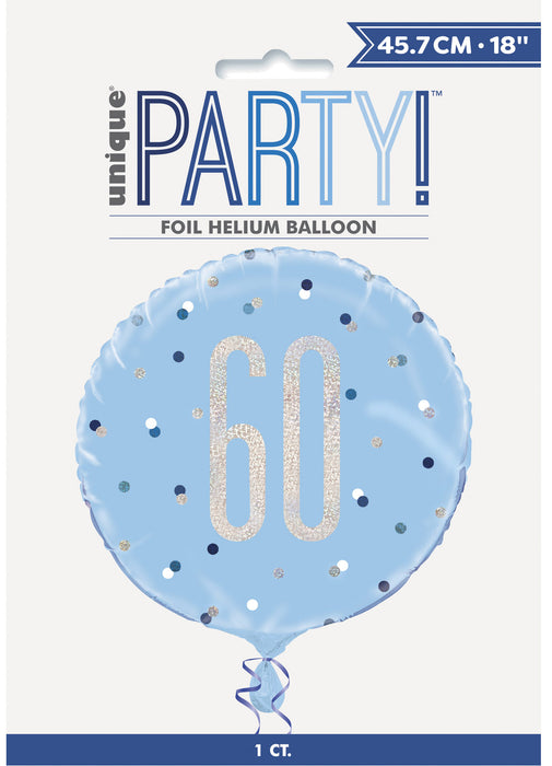 Blue Glitz Age 60 Foil Balloon