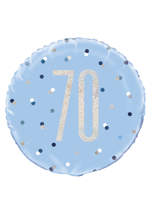 Blue Glitz Age 70 Foil Balloon