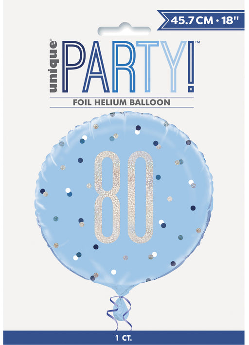 Blue Glitz Age 80 Foil Balloon