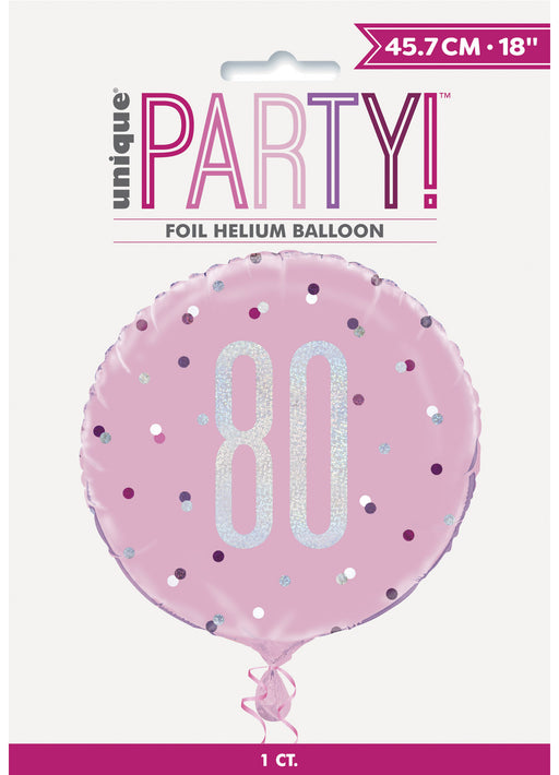 Pink Glitz 80th Birthday Foil Balloon