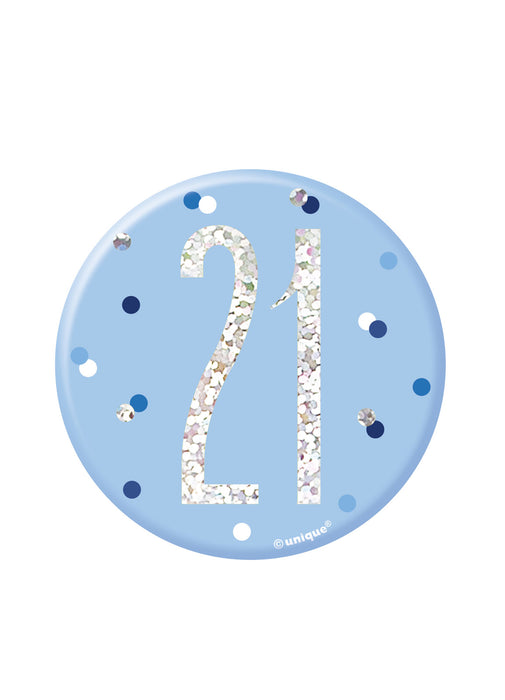 Blue Glitz Age 21 Badge