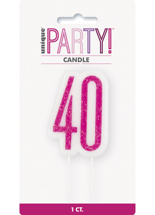 Pink Glitz Age 40 Candle
