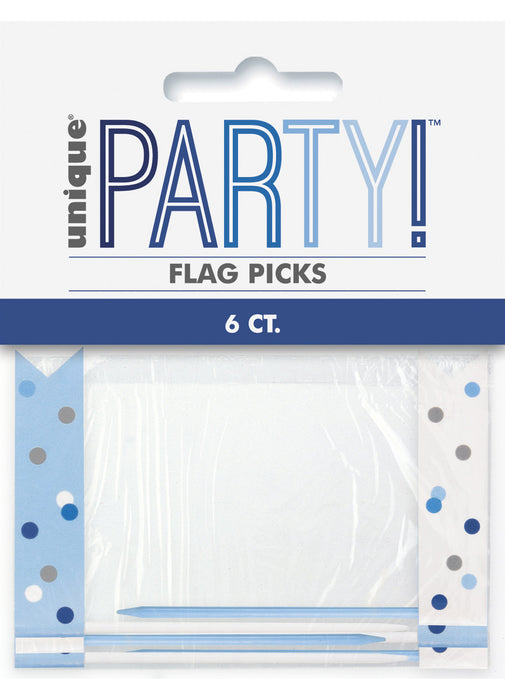Blue Glitz Flag Picks 6pk
