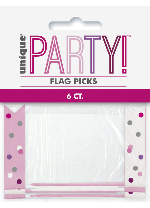 Pink Glitz Flag Picks 6pk
