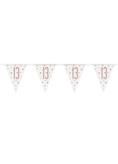 Rose Gold Glitz Age 13 Flag Banner