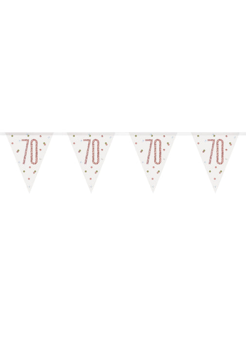 Rose Gold Glitz Age 70 Flag Banner