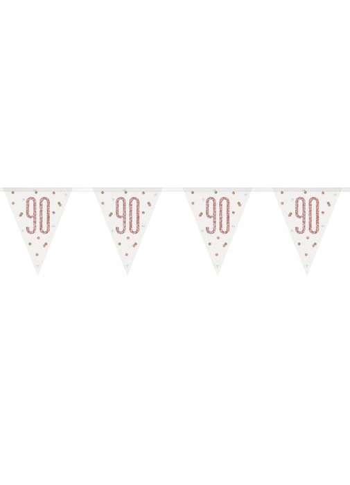 Rose Gold Glitz Age 90 Flag Banner