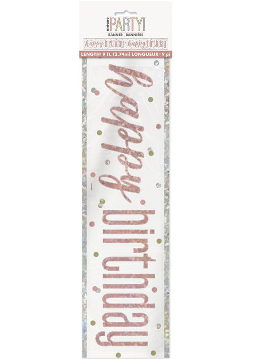 Rose Gold Glitz Happy Birthday Banner