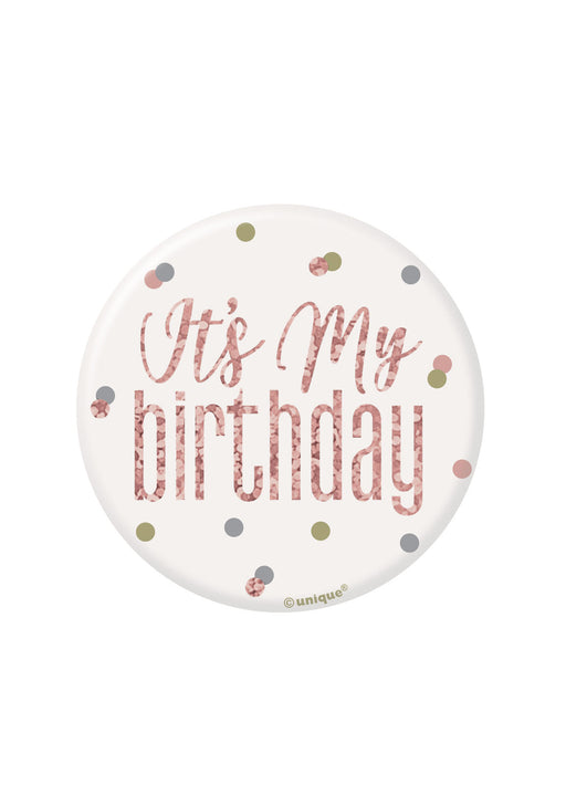 Rose Gold Glitz Happy Birthday Badge