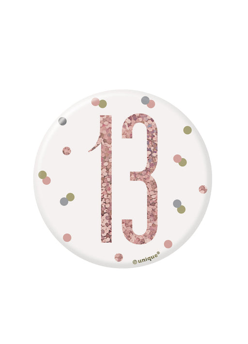 Rose Gold Glitz Age 13 Badge