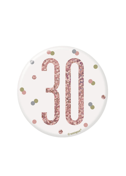Rose Gold Glitz Age 30 Badge