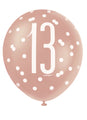 Rose Gold Glitz 13th Birthday Latex Balloons 6pk
