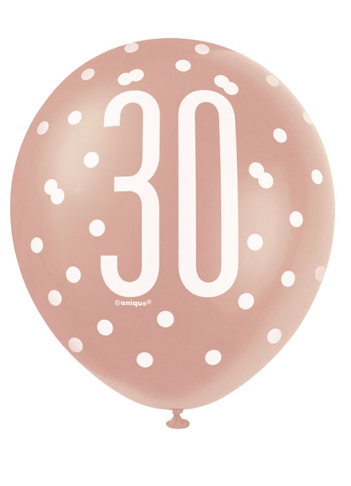 Rose Gold Glitz 30th Birthday Latex Balloons 6pk