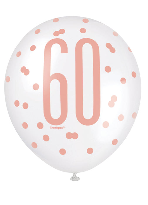 Rose Gold Glitz 60th Birthday Latex Balloons 6pk