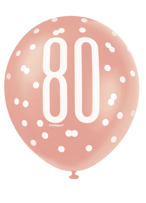 Rose Gold Glitz 80th Birthday Latex Balloons 6pk