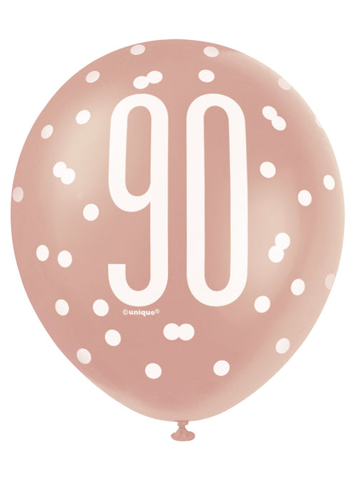 Rose Gold Glitz 90th Birthday Latex Balloons 6pk