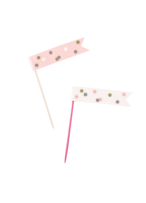 Rose Gold Glitz Flag Picks 6pk
