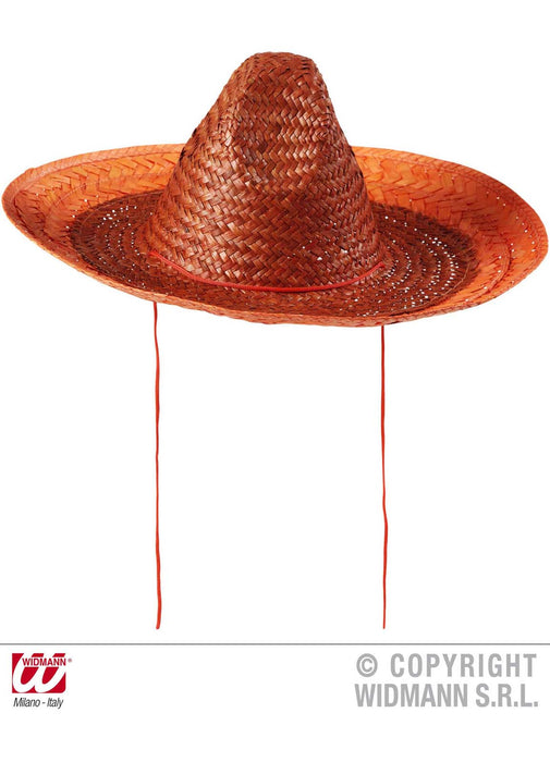 Mexican Straw Orange Sombrero