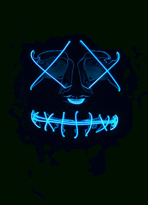Neon Blue Light Up Mask