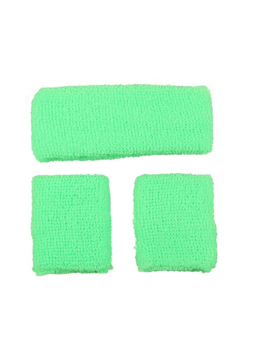 Neon Green Sweatbands Set — Party Britain a8c89565004