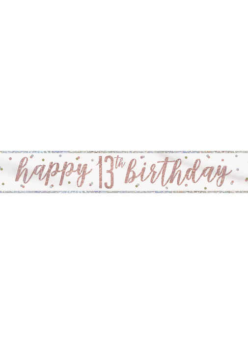 Rose Gold Glitz Age 13 Birthday Banner