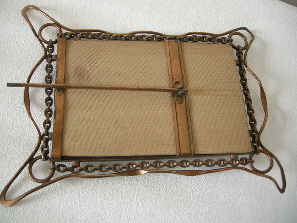 Unusual Arts and Crafts photo frame with wire work and chain design ca 1900