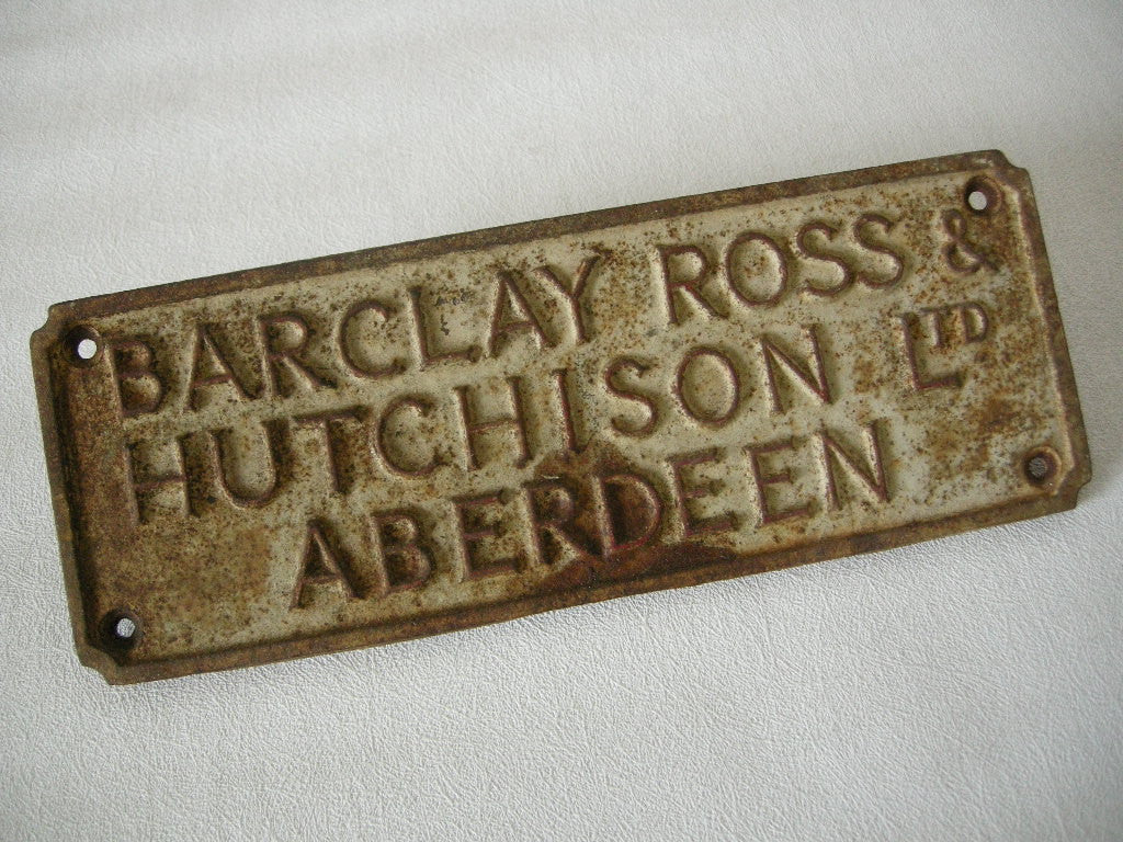 BARCLAY ROSS & HUTCHISON CAST IRON SIGN OFF AN AGRICULTURAL IMPLEMENT