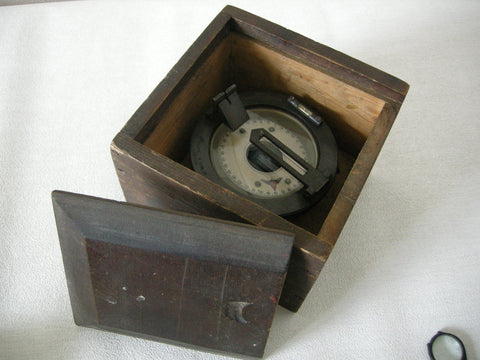 Boxed compass by H HUGHES AND SON LONDON No. 0220