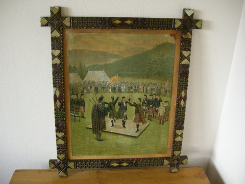 Early 20th C. Scottish Highland Games print featuring highland dancers in superb carved frame