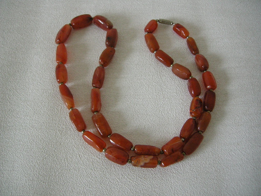 Vintage large Scottish carnelian bead necklace