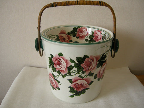 Antique Wemyss cabbage rose pattern ceramic pail with lid made ca 1900