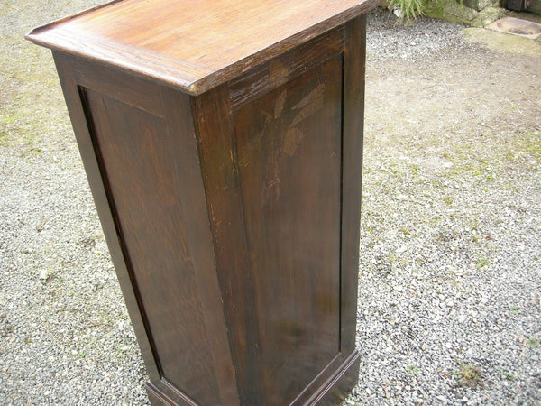 Early 20th century oak tambour front filing or music cabinet