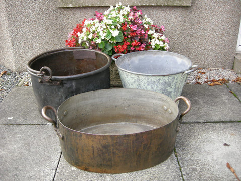 3 Vintage metal containers for hire