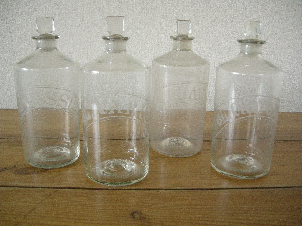 Set of 4 Victorian hand blown chemists bottles with etched labels and original stoppers