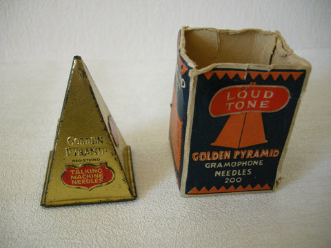 EARLY 20TH CENTURY GOLDEN PYRAMID GRAMAPHONE NEEDLE TIN AND BOX