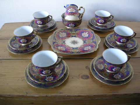 Early 20th century 21 Piece Japanese Meito China teaset