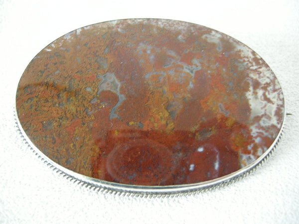 Striking very large Scottish Victorian moss agate brooch with silver setting